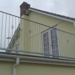 Decrotive galvanised house balcony side view