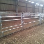 Sheep feed barriers with inward or outward opening 4ft gate.