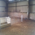 Walkthrough sheep feeder with hanging gates